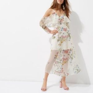 NWT River Island Petite Floral Cold Shoulder Dress
